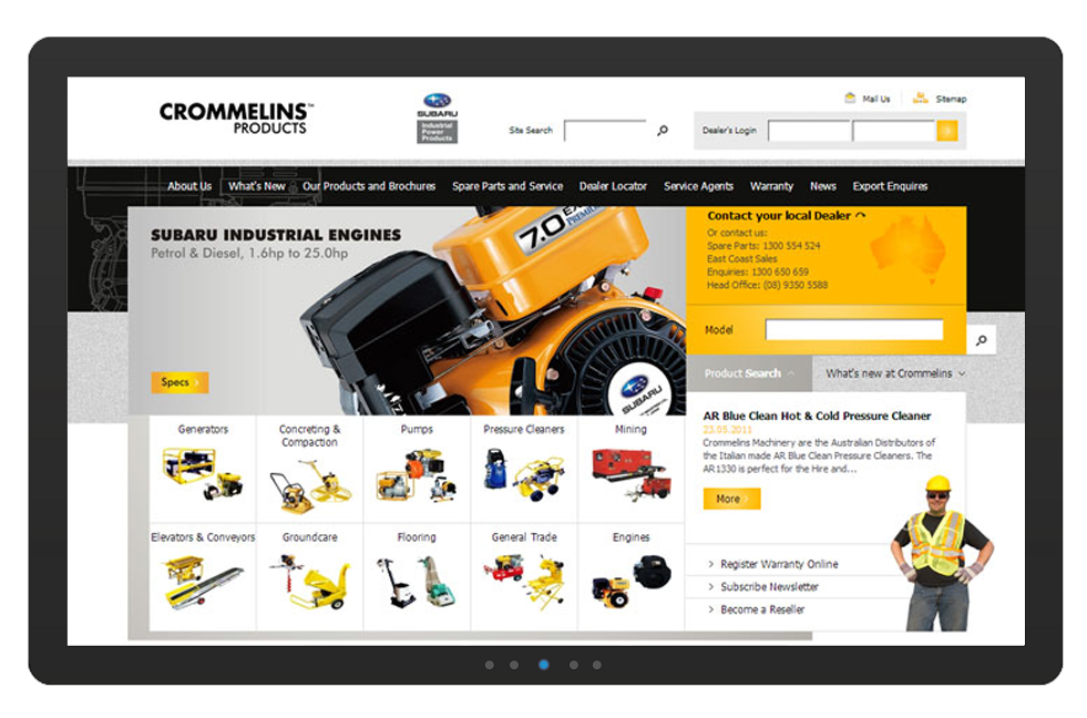 Crommelins website includes a custom product catalogue