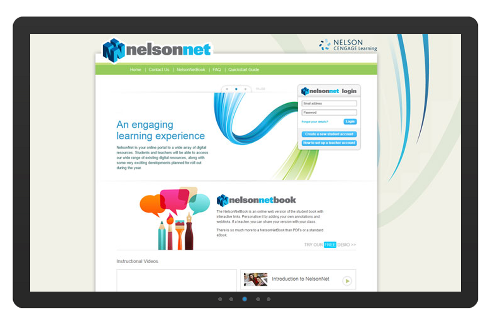 Cengage Australia has many custom online solutions and system integrations developed and managed by IBC, such as the NelsonNet dashboard